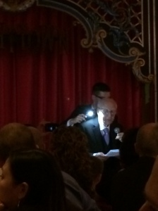 John holding the light while his grandfather read his letter.