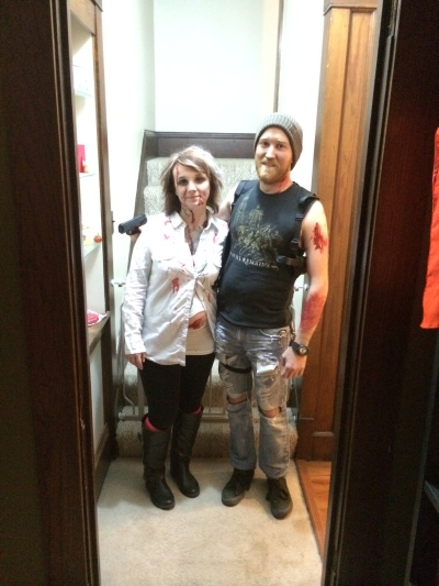 A preggo zombie (IRL) and a zombie hunter