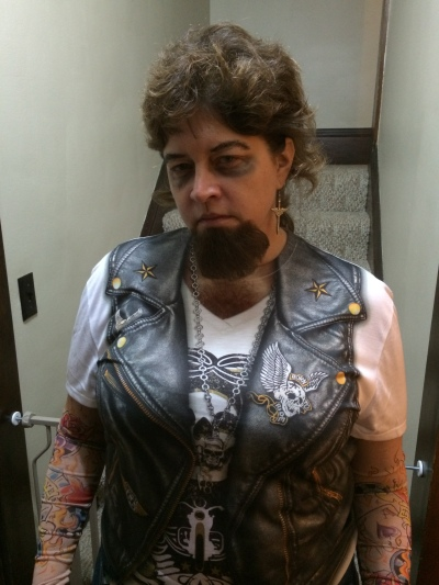 A biker dude (this is my mother... see where I get my Halloween spirit from?)