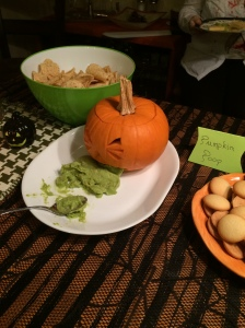 Puking Pumpkin [I carved the pie pumpkin, but cheated and bought store guac... Sorry!]