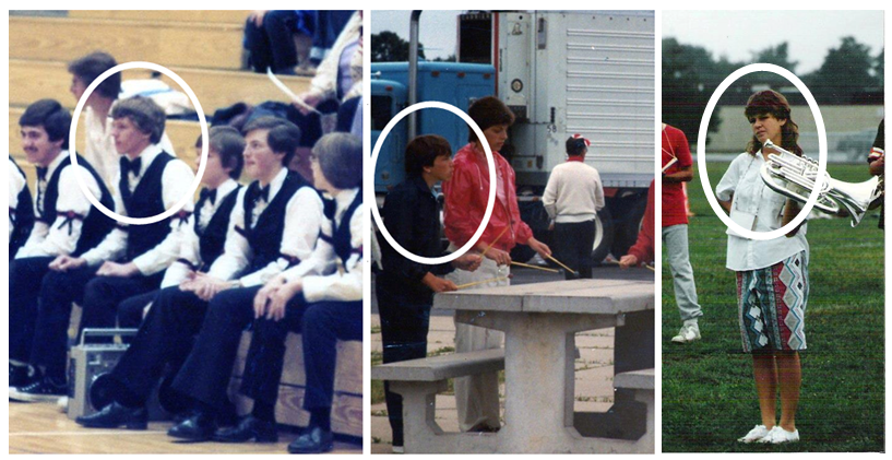 My dad is in the left picture, my uncle (his brother) is in the middle, and my aunt (dad's sister) is in the last one. My hs band director is also the 2nd person to my dad's right.